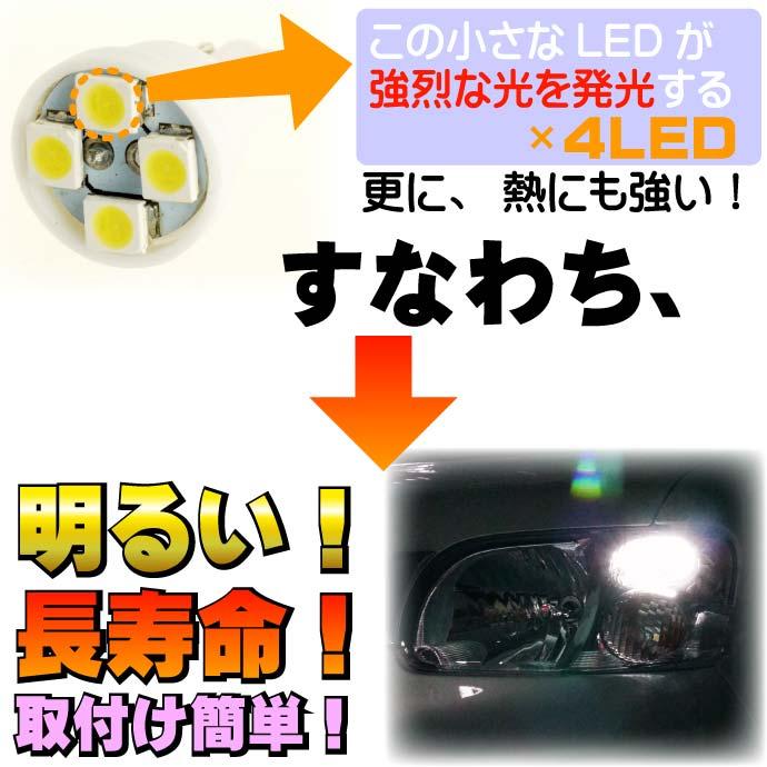 T10 LEDバルブ4連 SMDウェッジ球