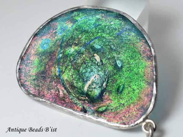 【1807】古代ローマンセミクリアブルー銀化残欠片シルバー枠特大ペンダントTOP1