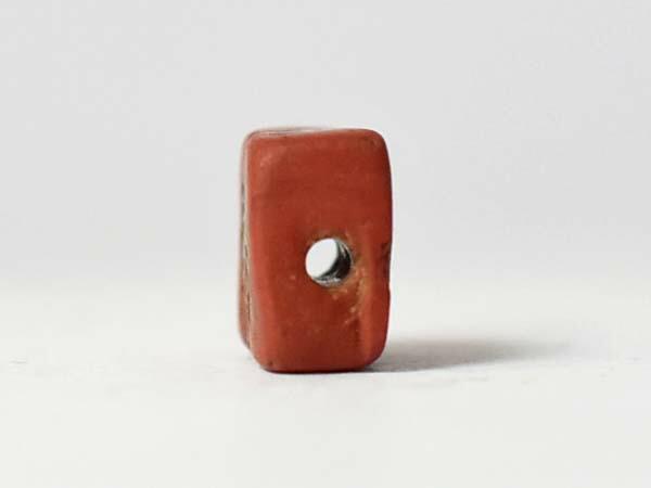 【1708】古代ローマン鳥紋様煉瓦色ディスクビーズA5