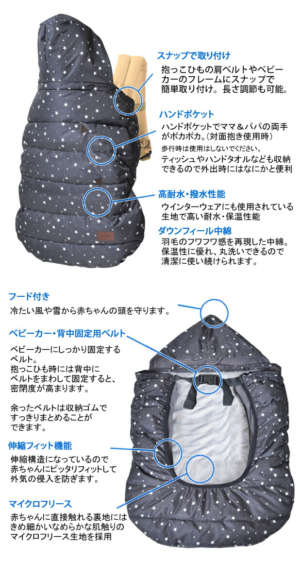 wipcream(ホイップクリーム)抱っこひも用ケープとベビーカーのフットマフとして使える2WAYタイプ/防寒ケープ