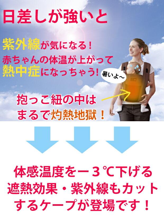 抱っこ紐・ベビーカー兼用2WAYサマーケープ     熱中症も気になるこの季節。     紫外線対策(UVカット)、太陽熱の遮熱効果で快適にお出かけ♪