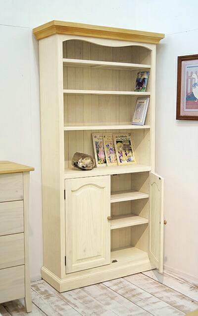 白いカントリー本棚,木製取手