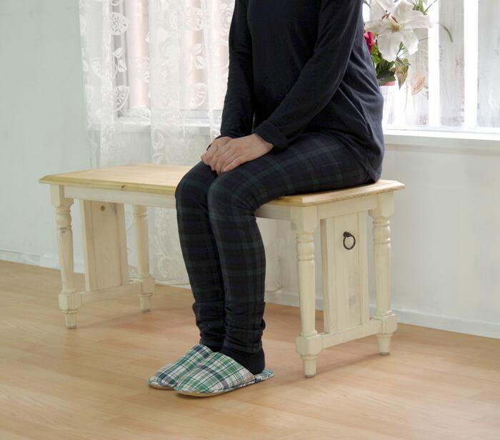 木製ダイニングベンチチェア 座面高42cm フレンチカントリー 長い椅子