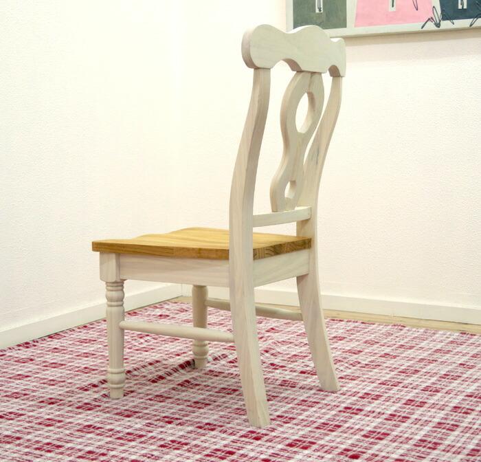 フレンチカントリー オシャレなデザインの白い木製ダイイングチェア