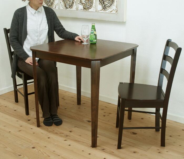 飲食店用 コンパクトテーブル 75cm角 ダイニングテーブル こげ茶色 カフェテーブル 椅子2脚セット