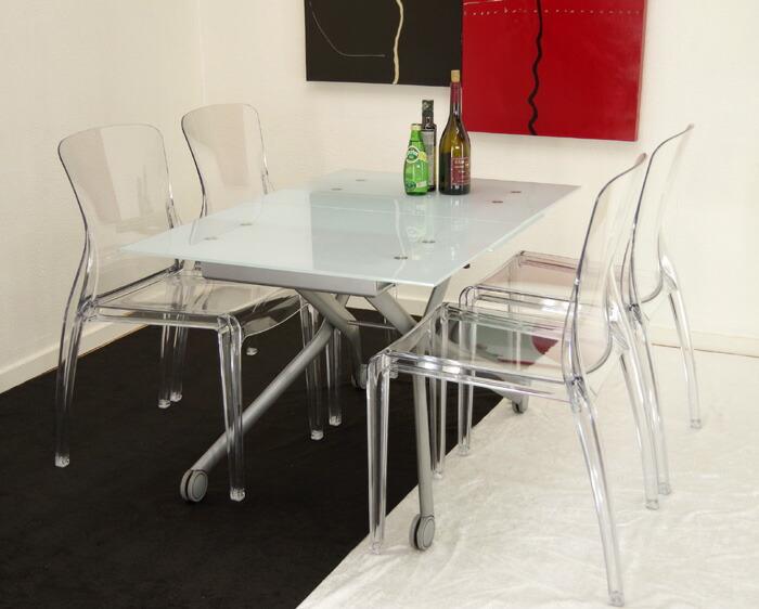 白いガラス天板 リフティングテーブル 透明色の椅子4脚セット