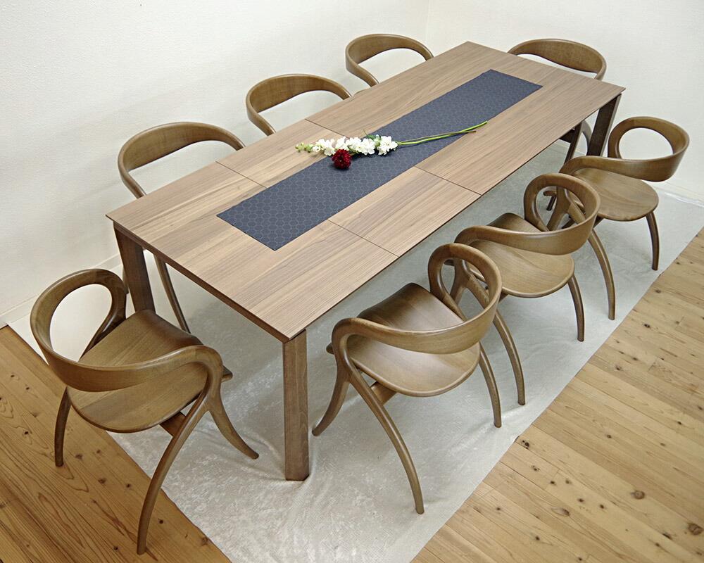 高級 イタリア製伸長式テーブル 最大230cm幅のダイニングテーブル チェア8脚セット