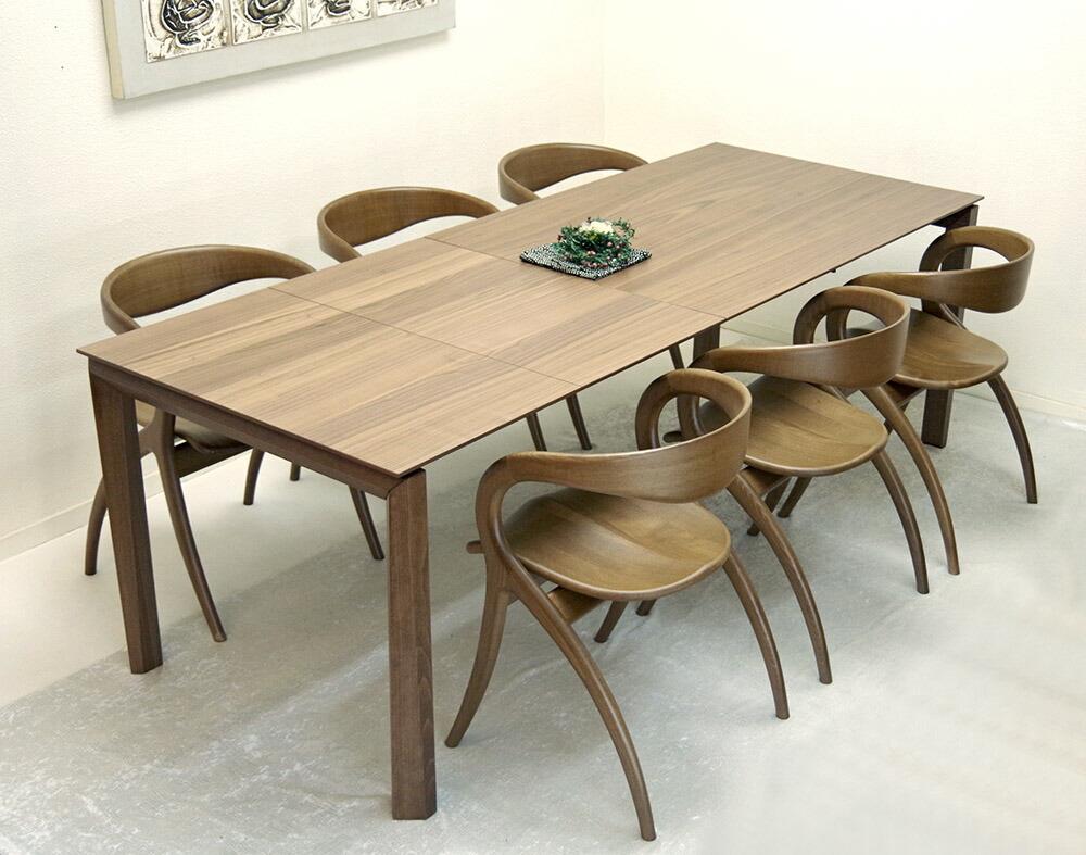 大型伸長式テーブル 最高級 デザイナーズチェア6脚セット
