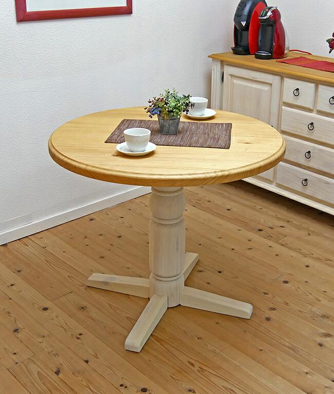 フレンチカントリー 90cmφ ラウンドテーブル 1本脚 カフェテーブル 木製 丸いダイニングテーブル