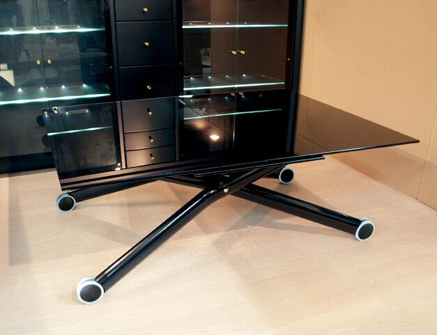 伸長式リフティングテーブル 黒ガラスの昇降ダイニングテーブル ガラス天板の座卓