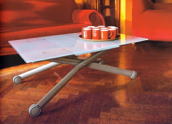 ガラス天板 伸長式 シフティングテーブル 昇降テーブル