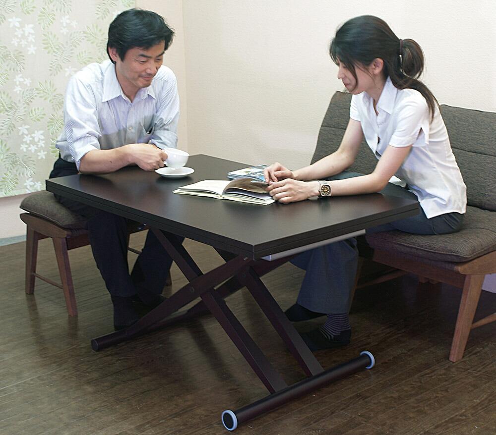木製脚 高さが調整できる リフティングテーブル 伸長式 昇降テーブル