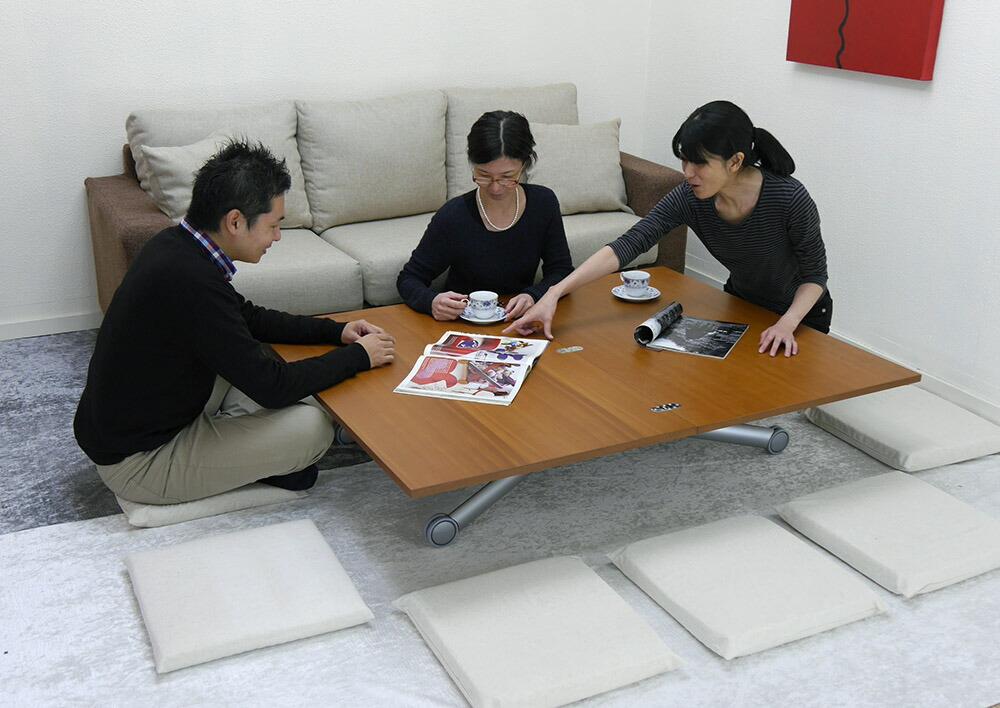 伸長式 ガス圧昇降 テーブル 木製リフティングテーブル