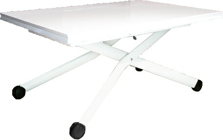 イタリア製 リフティングテーブル ピアノ塗装の美しい天板 白い鏡面塗装の昇降テーブル