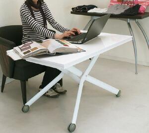 伸長式 リフティングテーブル 白い天板のテーブル 広げられるテーブル