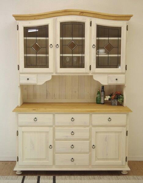 フレンチカントリー 食器棚 白い可愛い食器棚