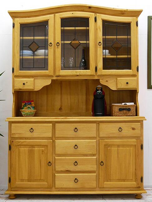 カントリー調 無垢木製 幅140cm台大きな食器棚 ナチュラルカントリー キッチンボード