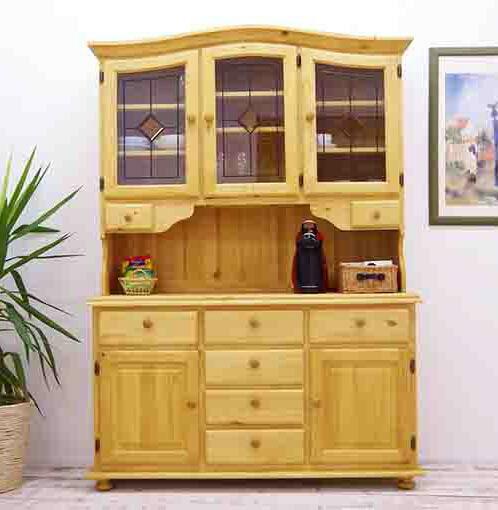 ナチュラルカントリー 無垢木製 食器棚 幅140cm台 カントリー調 大きなキッチンボード