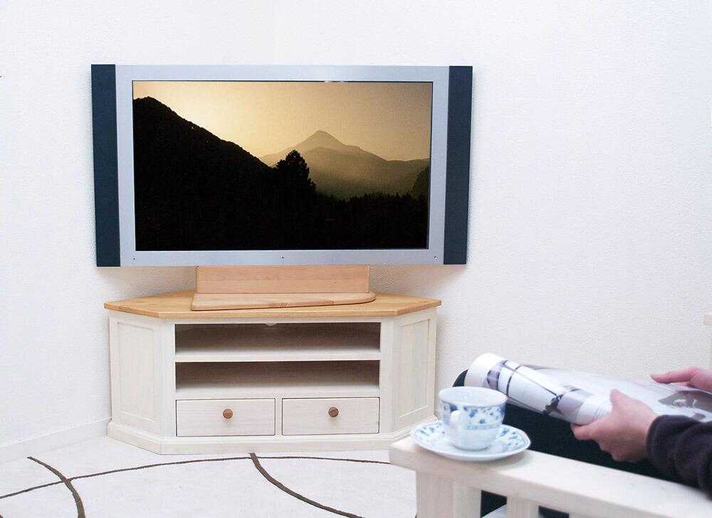 アンティーク調 コーナーテレビ台 白い木製テレビボード角置き用