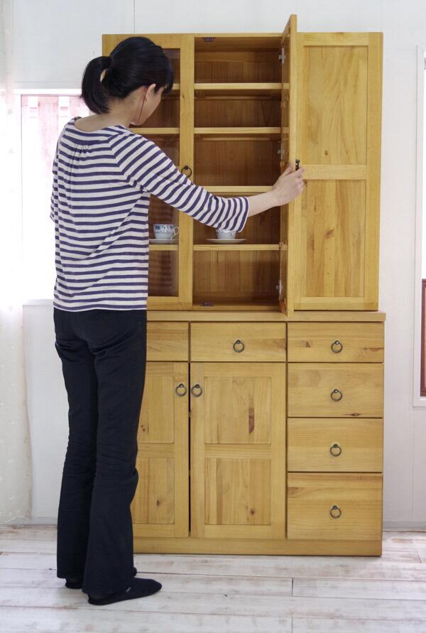 カントリー パイン食器棚 幅100cm ナチュラルカントリー シンプルな食器棚