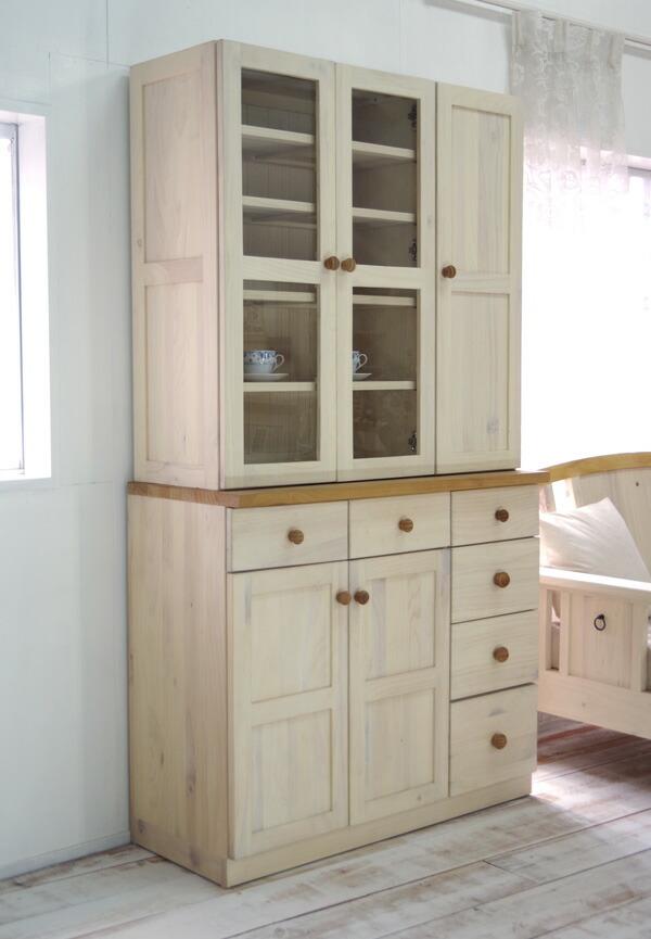 白いカントリー調 キッチンボード シンプルなフレンチカントリー食器棚