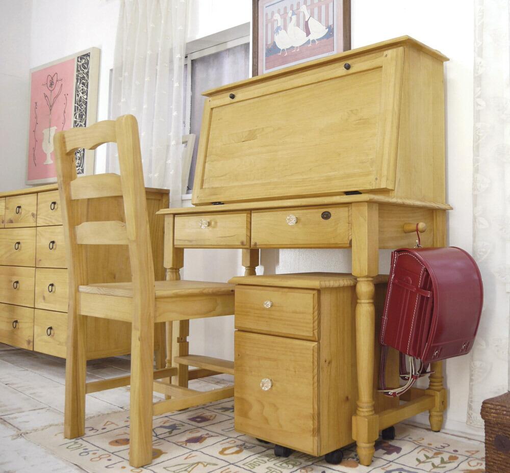 ナチュラルカントリー 無垢木製ライティングデスク 学習机