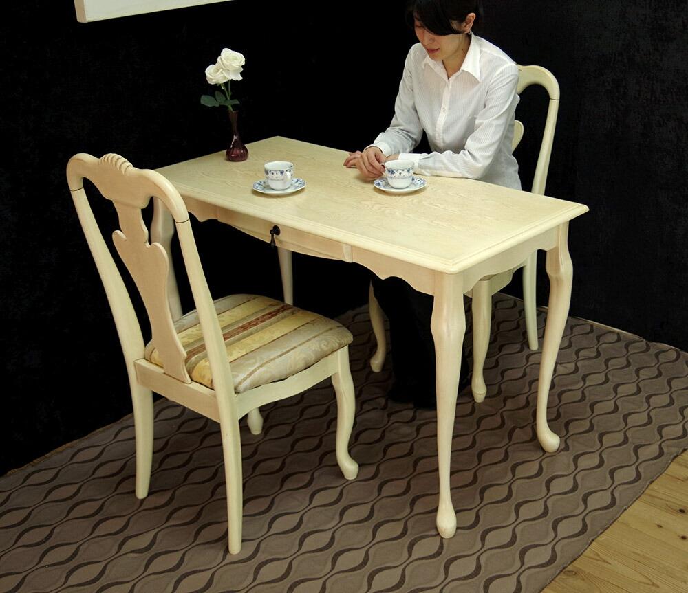 エレガントな猫脚ダイニングテーブルセット 奥行60cmとコンパクトなテーブルセット