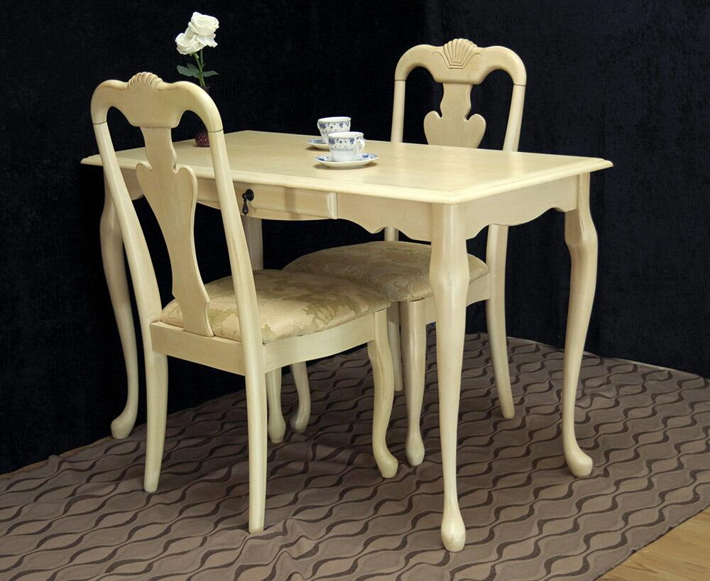 ロココ調 猫脚のダイニングテーブル カフェテーブル 2人掛け用 コンパくとなダイニングセット