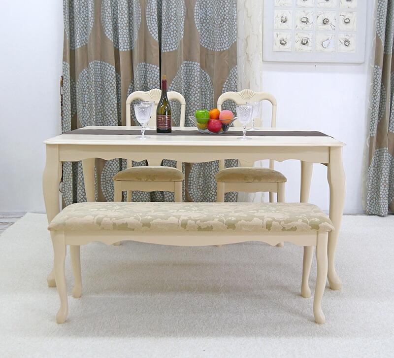 アンティークホワイト塗装テーブル