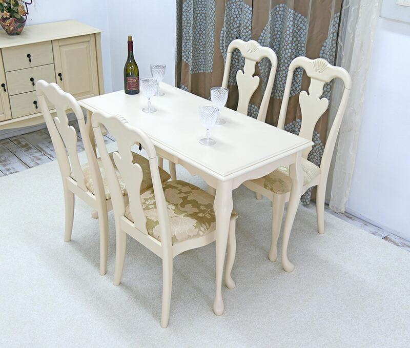 コンパクトなアイボリーテーブル椅子4脚セット