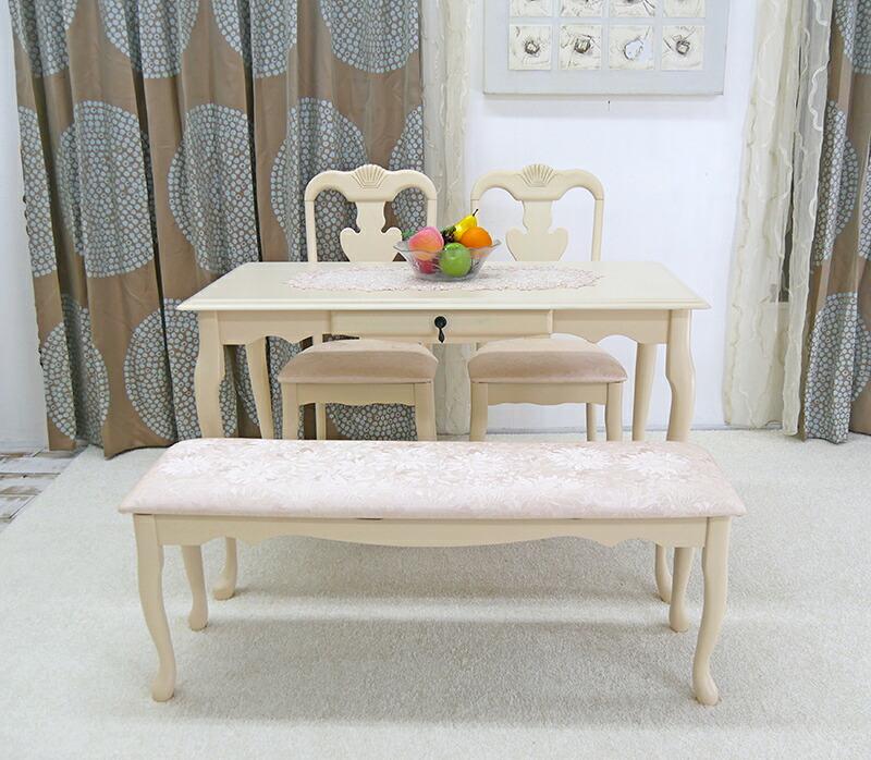 クィーンアンアンティーク調 テーブルセット 高級感のあるダイニングテーブルセット