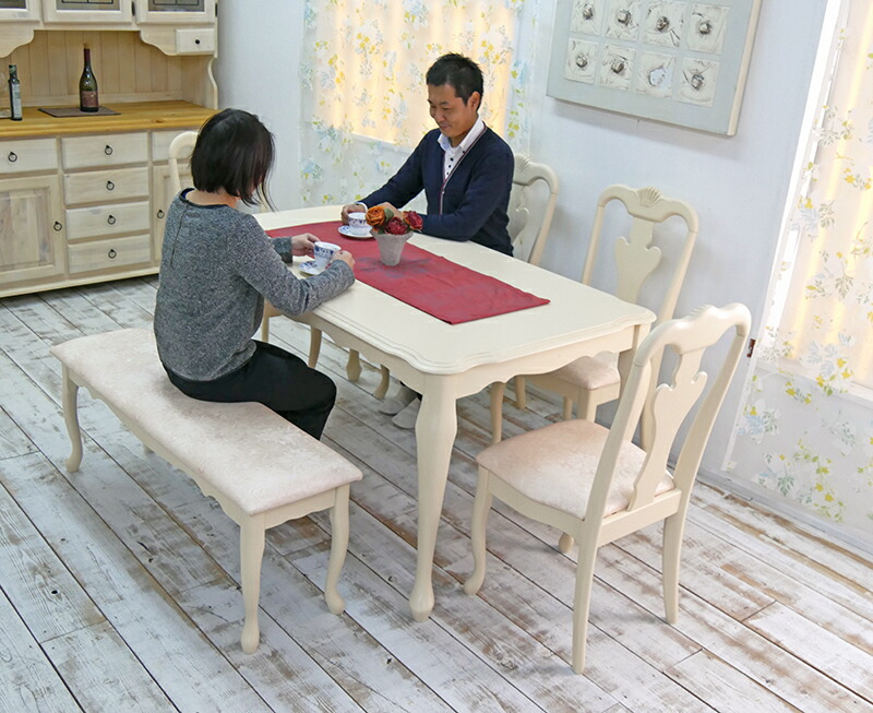 クィーンアン調テーブルベンチセット