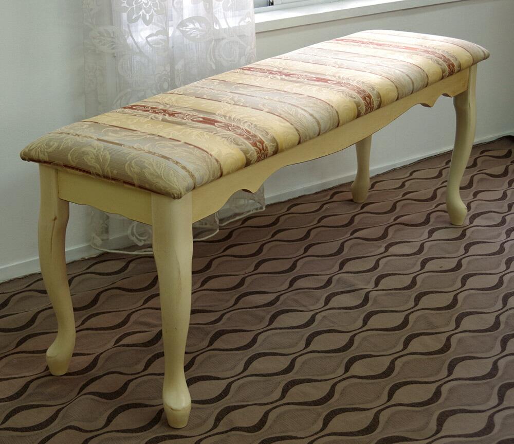 クラシック調 猫脚ベンチチェア 幅120cm 上品な猫脚のベンチに豪華なデザインの布生地座面
