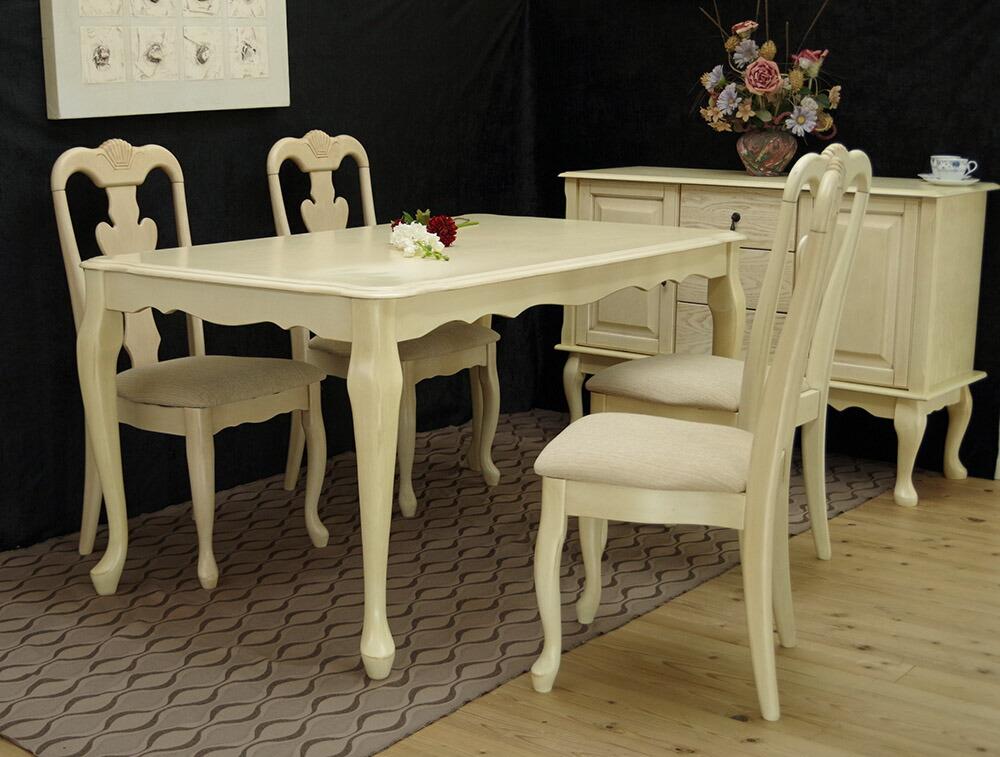 猫脚 白いダイニングテーブルセット クラシック調の優美で美しい曲線の4人掛けテーブルセット