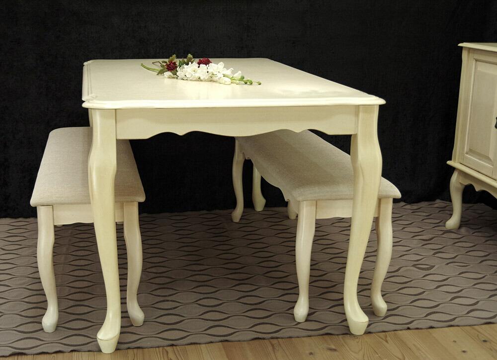 猫脚のエレガントなダイニングテーブルセット 150cm幅のテーブルにベンチチェア2脚をセットに