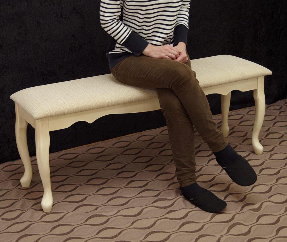 クラシック調 猫脚 ダイニングベンチチェア ロココ調 上品姫系のベンチ椅子