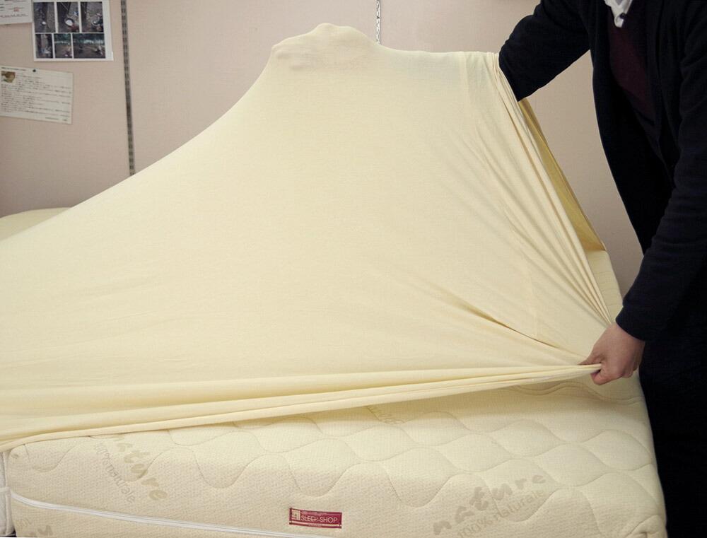 アイボリー色 大きな ボックスシーツ ロングサイズベッド用 ボックスシーツ