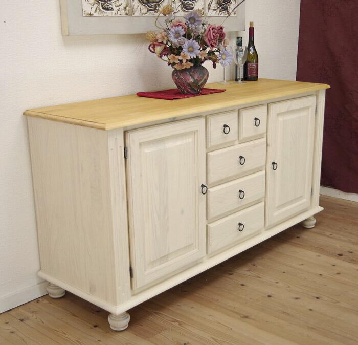 フレンチカントリー 木製キッチン サイドボード 白い レンジ台 幅156cm