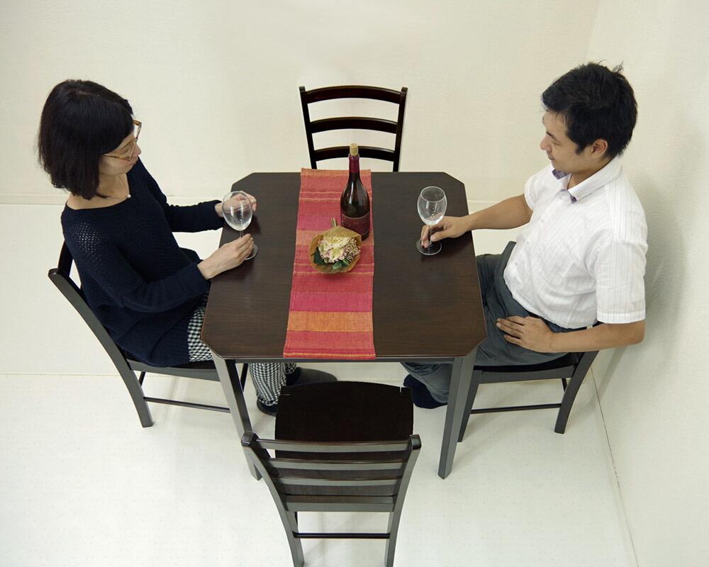 飲食店用 コンパクトテーブル 75cm角 ダイニングテーブル こげ茶色 カフェテーブル 椅子4脚セット