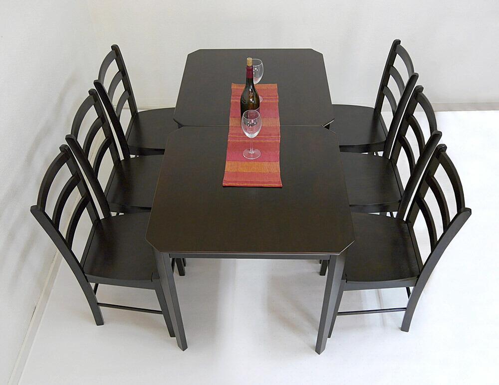 飲食店用 コンパクトテーブル 75cm角 ダイニングテーブル こげ茶色 カフェテーブル2台 椅子6脚セット
