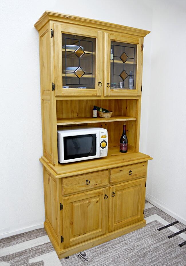 カントリー調 シンプルな食器棚 無垢木製 オープン棚付き 食器棚