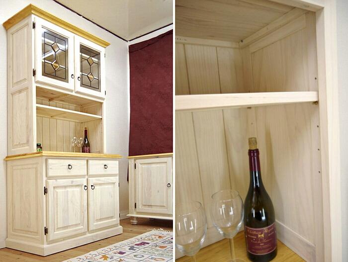 フレンチカントリー 幅約100cm 食器棚 白いカントリー キッチンボード