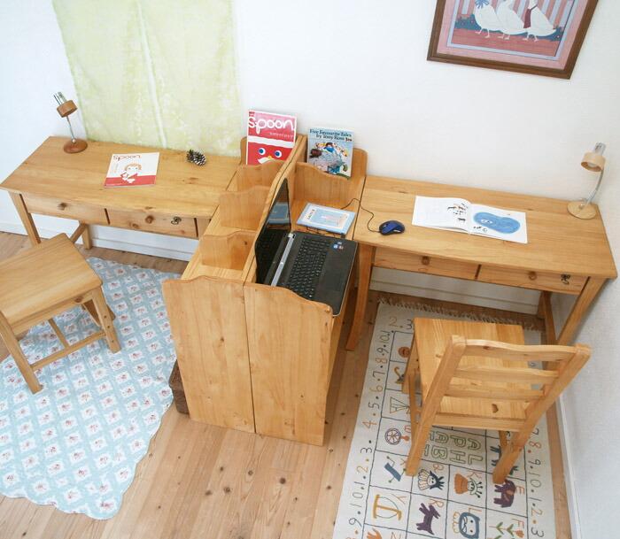 ツインデスク ナチュラルカントリー 無垢木製兄弟机