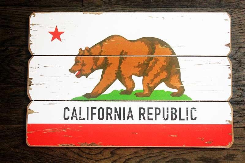 カリフォルニア★フラッグ柄・木製壁飾り(木製ボード)・木製看板