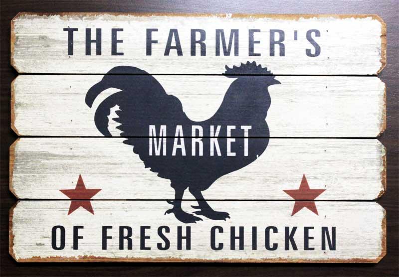にわとり★THE FARMER'S・レトロ調・木製看板