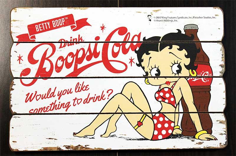 ベティ・ブープ★BettyBoop・コーラ柄・木製壁飾り(木製ボード)・木製看板