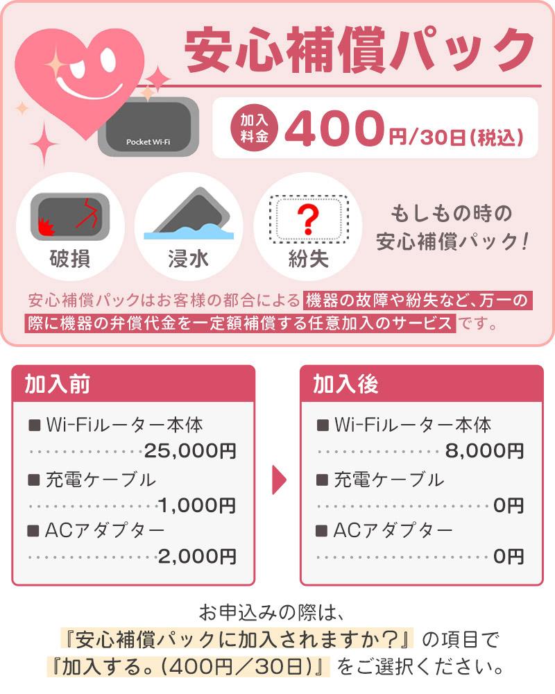 Bee-Fi ビーファイ レンタル WiFi 安心補償パック 加入料金 400円 破損 浸水 紛失