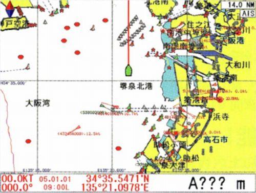 AIS受信機と接続することで、地図上に大型船などの他船情報を表示することができます。
