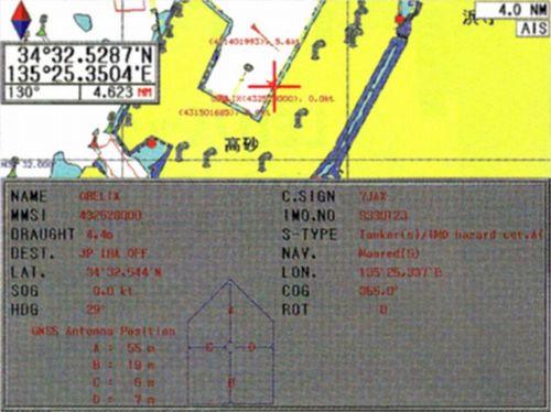 カーソルを地図上に表示されている各船舶にあわせ、決定ボタンを押すと船名・位置・進路方向・速力などの詳細情報表示が可能です。