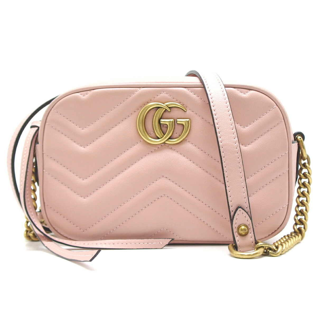 151fd5d50e4 Detalles acerca de Auth Gucci Light Pink GG Marmont Matelasse Mini Shoulder  Bag 448065 (DH44579)